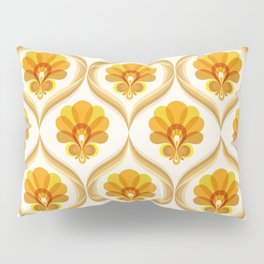 Ivory, Orange, Yellow and Brown Floral Retro Vintage Pattern Pillow Sham
