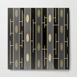Modern Abstract Black Gold Beams Metal Print