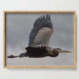 Bird series: heron in flight Serving Tray