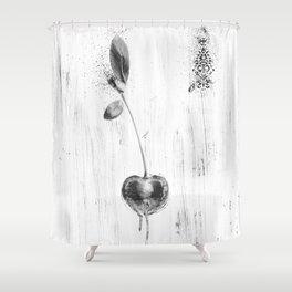Black and White Cherry Shower Curtain