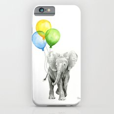 Elephant Watercolor Baby Animal with Balloons - Blue Yellow Green iPhone 6s Slim Case
