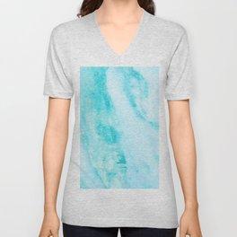 Shimmery Teal Ocean Blue Turquoise Marble Metallic Unisex V-Neck