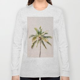 Palm tree - beige minimalist tropical photography in hd Long Sleeve T-shirt