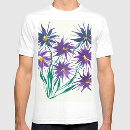 Purple and Blue Flowers. T-shirt