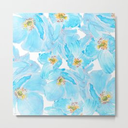 blue poppy pattern Metal Print