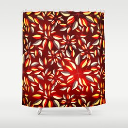 Duo-Toned Leaf pattern 2 (Red) Shower Curtain