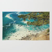big sur Area & Throw Rugs featuring Big Sur - Sapphire Shore by Jenndalyn