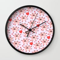 pigs Wall Clocks featuring pigs by elvia montemayor