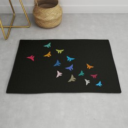 Flying Origami Butterflies Rug