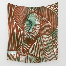 Don Quixote in Green and Rust Wall Tapestry