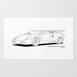 Lamborghini Countach 5000QV (US spec) Line Illustration Rug