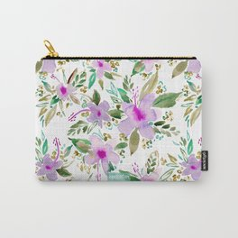 HIBISCUS DANCE Tropical Pink Floral Carry-All Pouch