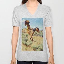 """The Chief"" Western Art by W Herbert Dunton Unisex V-Neck"
