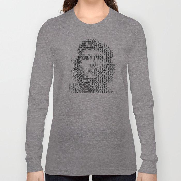 Che Guevara Portrait in Words Long Sleeve T-shirt