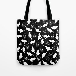 Skulls, Cats, Black and White, Pattern Tote Bag