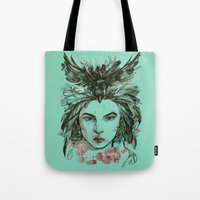 viria Tote Bags featuring Crow queen by viria