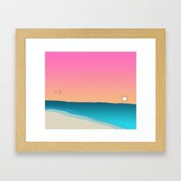 Beach Sunset with birds 2 Framed Art Print