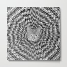 Dizzy Cat Abstract in Monochrome Metal Print