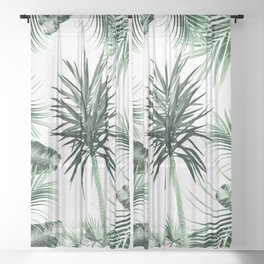 Tropical Summer Vibes Leaves Mix #2 #tropical #decor #art #society6 Sheer Curtain
