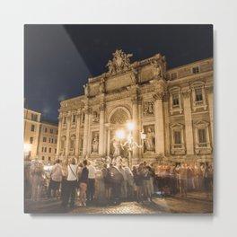 trevi fountain on the night in rome Metal Print
