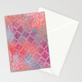 Layered Patterns - Pink, Coral & Turquoise Stationery Cards