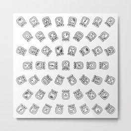 Maya astrology symbols pattern Metal Print