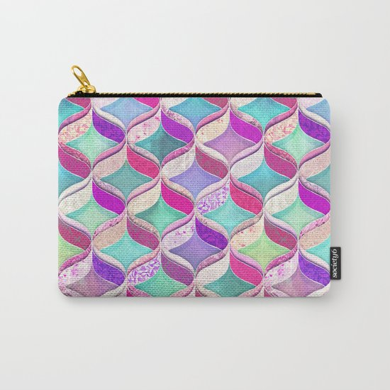 Patchwork Ribbon Ogee Pattern with Pink & Purple Carry-All Pouch