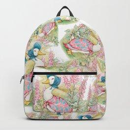 Jemima Puddleduck vintage Beatrix Potter pattern design Backpack