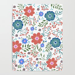 Pretty flowers and flourishes Poster