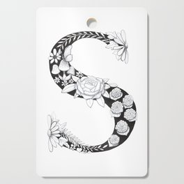 Floral Pen and Ink Letter S Cutting Board