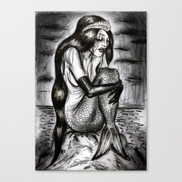 Black Mermaid Canvas Print