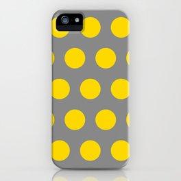 Medium Yellow Dots on Gray iPhone Case