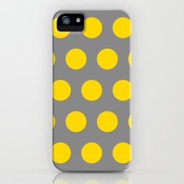 Medium Yellow Dots on Gray iPhone Case