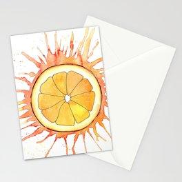 Splash Orange Slice Watercolor Painting Stationery Cards