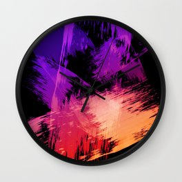 Bold Purple and Orange Colorful Brushstrokes Abstract Wall Clock