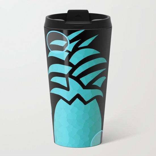 Tropical Blue And Black Metal Travel Mug