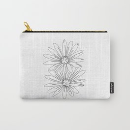 Botanical illustration line drawing - Daisies White Carry-All Pouch