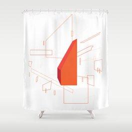 Blueprint #2 (red) Shower Curtain