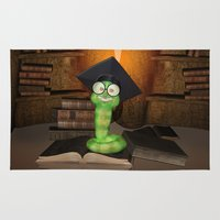 bookworm Area & Throw Rugs featuring Cute bookworm by nicky2342