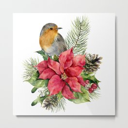 Merry Christmas. Watercolor Metal Print