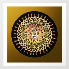 Lion Celtic Knot Mandala Art Print