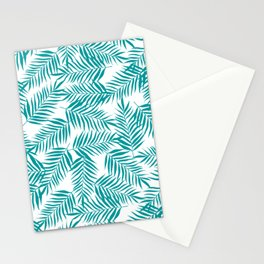 Turquoise Palm Leaves Stationery Cards