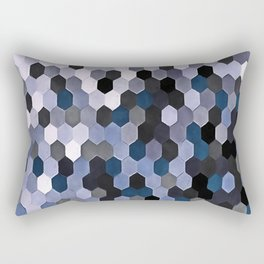 Honeycomb Pattern In Gray and Blue Wintry Colors Rectangular Pillow