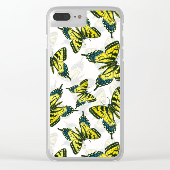 Tiger swallowtail butterfly watercolor pattern Clear iPhone Case