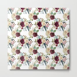 Burgundy ivory green watercolor boho floral pattern Metal Print