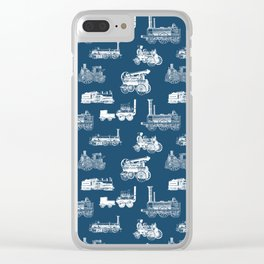 Antique Steam Engines // Navy Blue Clear iPhone Case