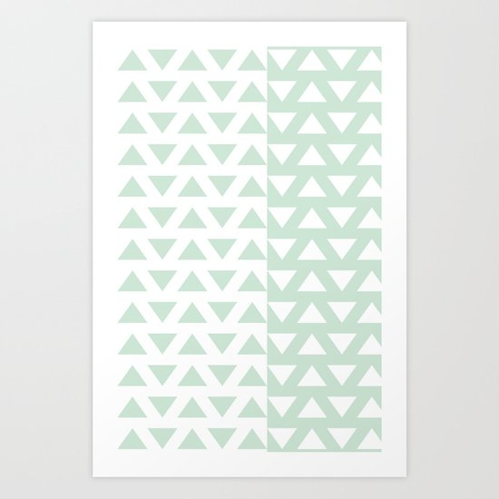 Vintage Triangle Invasion Mint green Art Print