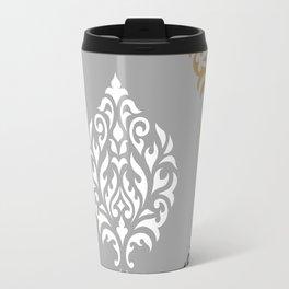 Orna Damask Art I BW Grays Gold Travel Mug