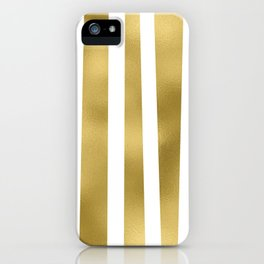 Gold unequal stripes on clear white - vertical pattern iPhone Case