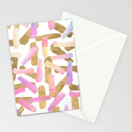 Modern pink lavender teal gold watercolor brushstrokes Stationery Cards